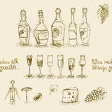 Set of wine bottles and glasses Stock Photos