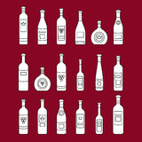 Set of wine bottles outline.  out line wine bottles. Different kinds of wine. Design elements for banners, wine markets, a Stock Photography