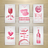 Set of wine cards and labels design Royalty Free Stock Image