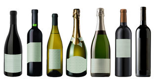 Set of the wine and champagne Bottles royalty free stock photography