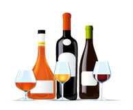 Set of wine and cognac bottles. On white Stock Image