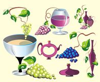 Set of wine design elements Stock Photography