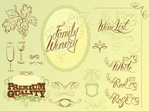 Set of wine design elements for bar or restaurant Royalty Free Stock Image