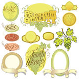 Set of wine design elements for bar or restaurant - signs, icons Stock Photos