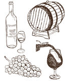 Set of wine doodles Royalty Free Stock Photo