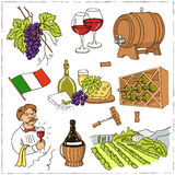 Set of wine drawings. Sketches. Hand-drawing. Vector illustratio Royalty Free Stock Images