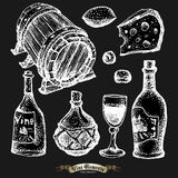 Set of wine elements Royalty Free Stock Images
