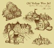 Set of wine elements Royalty Free Stock Image