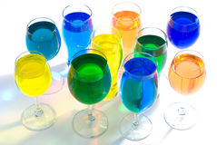 Set of wine glass and color water Royalty Free Stock Photo