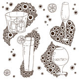 Set of Wine Glass On The Doodle Circular Pattern Stock Images