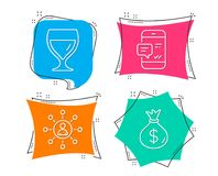 Wine glass, Networking and Smartphone notification icons. Money bag sign. Set of Wine glass, Networking and Smartphone notification icons. Money bag sign vector illustration