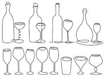 Wine glass one line drawing. Set of wine glass one line drawing stock illustration