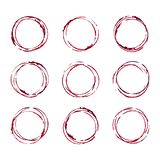 Set of wine glass stain circle, transparent background. Vector design elements stock illustration