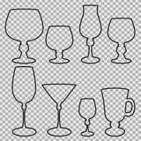 Set of wine glasses balck silhouette. Royalty Free Stock Photos
