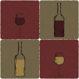 Set of wine glasses and bottles Royalty Free Stock Photo