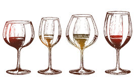 A set of wine glasses Stock Images