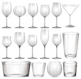Set of wine glasses and cups Stock Image