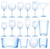 Set of wine glasses and cups Stock Images