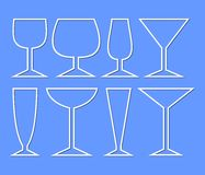 Set of wine glasses for different types of wine. Simple monoline glass silhouettes for menu or drink card decoration in restaurant Stock Images