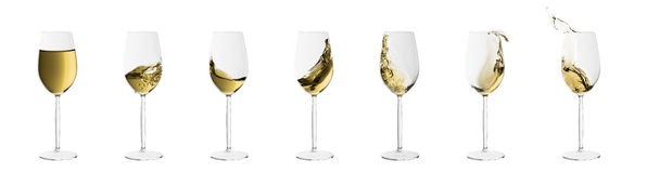 Set of wine glasses with splashes of white wine Stock Photo