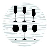 Set of wine glasses, vector stock illustration