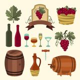 Set of wine icons, elements and objects Stock Photo