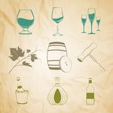 Set of wine items Royalty Free Stock Photo