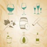 Set of wine items Royalty Free Stock Photo