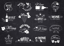 Set of wine labels, badges and logos for design. Over blackboard. Vector illustration stock illustration