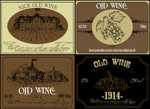 Set of wine labels Royalty Free Stock Images