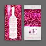 Set of wine labels. watercolor background Stock Photography