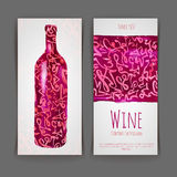 Set of wine labels. watercolor background Stock Photo