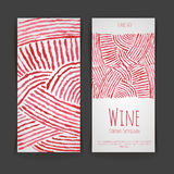 Set of wine labels. watercolor background Royalty Free Stock Photos