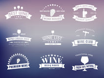 Set of wine logos with ribbons Stock Photo