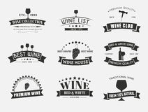 Set of wine logos with ribbons Royalty Free Stock Image