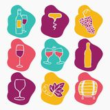 Set of wine making icons, vector illustration. Doodle style Royalty Free Stock Image
