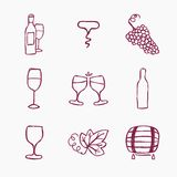 Set of wine making icons, vector illustration. Doodle style Stock Images