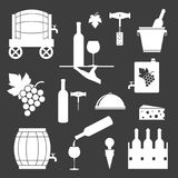 Set of wine related icons on black background. Vector illustration Vector Illustration
