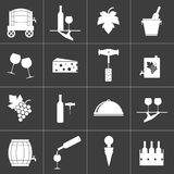 Set of wine related icons on black background. Vector illustration Royalty Free Illustration