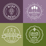 Set of wine signs, badges and labels. Vector line illustration. Royalty Free Stock Photo