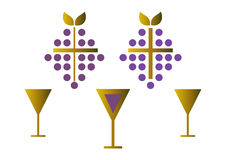 Set of wine symbols (gold) Royalty Free Stock Photography