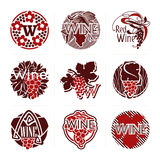 Set of wine vector labels and badges Stock Photos