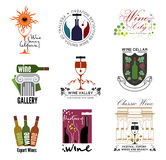 Set of wine, wine exhibition, wine festivals, restaurants and wine shops logos, badges kit design elements. Royalty Free Stock Images