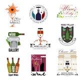 Set of wine, wine exhibition, wine festivals, restaurants and wine shops logos, badges kit design elements. Label and logo: Glasses, corkscrews, wine bottle Royalty Free Stock Images