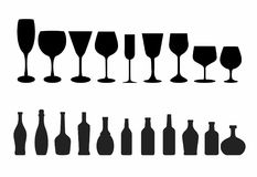 Black Wine glass and Bottle. A set of wine wine glass and bottle in silhouette Stock Photo