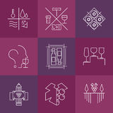 Set of wine and winemaking icons. Modern linear style. Outline logos and design elements for vineyard Stock Photography
