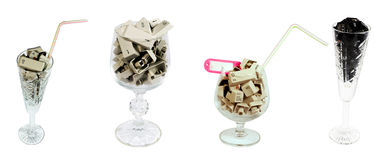 Set of wineglass. With coctail from old buttons Royalty Free Stock Photo