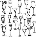 Set of wineglass. Set of ink drawing wineglass, vector illustration Stock Images