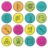 Set of winemaking, wine tasting icons Stock Images