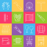 Set of winemaking, wine tasting icons. Set of winemaking and wine tasting icons in modern thin line style  on colored background. High quality outline symbol Stock Photo